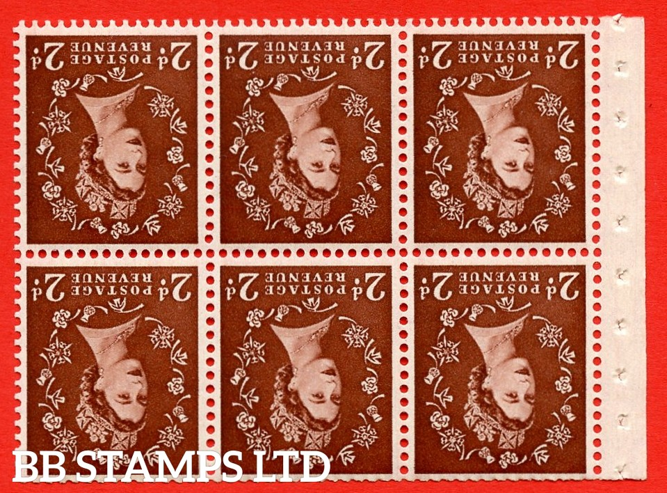 SG. 518. SB76. 2d red - brown. A fine UNMOUNTED MINT. INVERTED WATERMARK booklet pane of 6. Perf type (IS) with Trimmed PERFS.