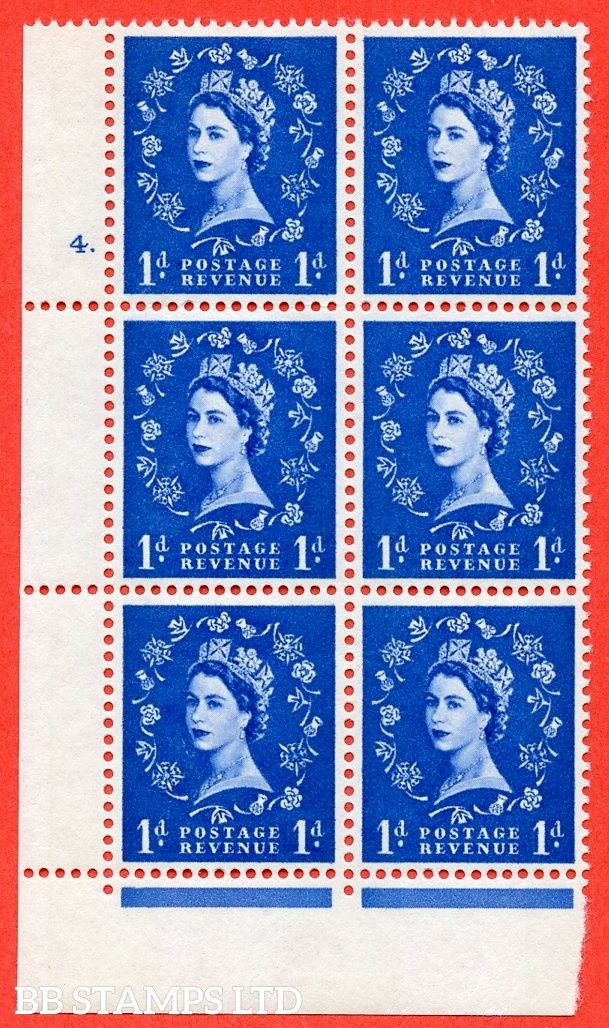 "SG.611. S24. 1d Ultramarine. A fine mounted mint "" cylinder 4 dot "" control block of 6 with perf type Fl (P/E). violet Phosphor 9½mm Band."