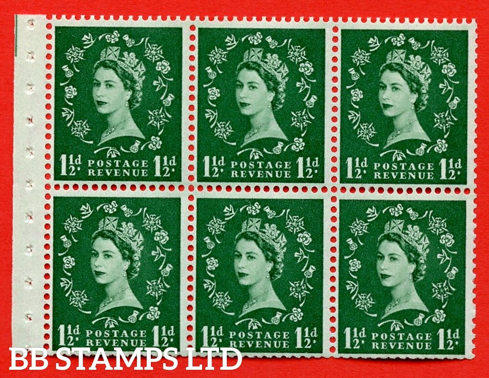 SG. 517. SB59. 1½d green. A fine UNMOUNTED MINT complete booklet pane of 6. Perf type (Ieb) with Trimmed PERFS.