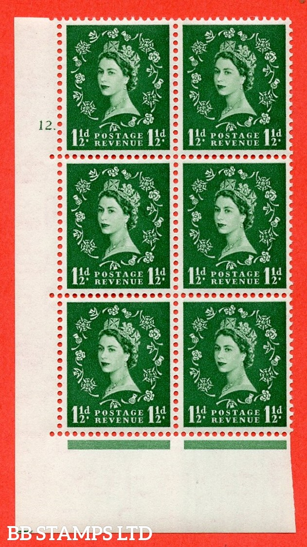 "SG. 517. S25. 1½d Green. A superb UNMOUNTED MINT "" cylinder 12 dot "" control block of 6 with perf type A E/I."
