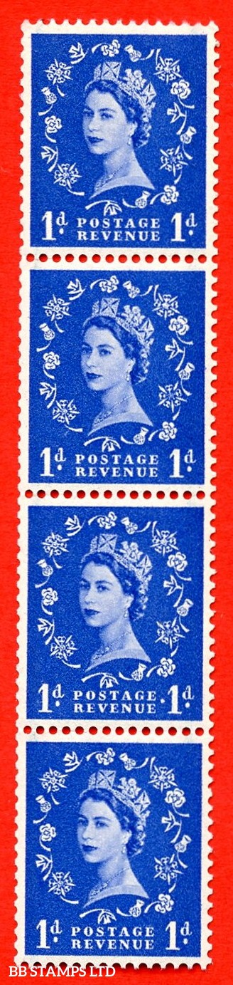 SG. 562a. S15c. 1d Ultramarine. A superb UNMOUNTED MINT example. Upright coil strip of 4. With a extra stop. ERROR. Roll 2 variety.