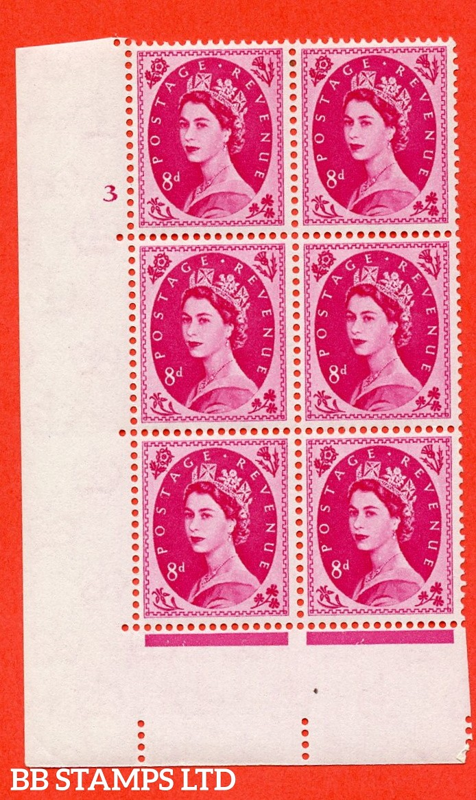 "SG S121. 8d Magenta  A superb UNMOUNTED MINT "" cylinder 3 no dot "" control block of 6 with perf type A (E/I)."