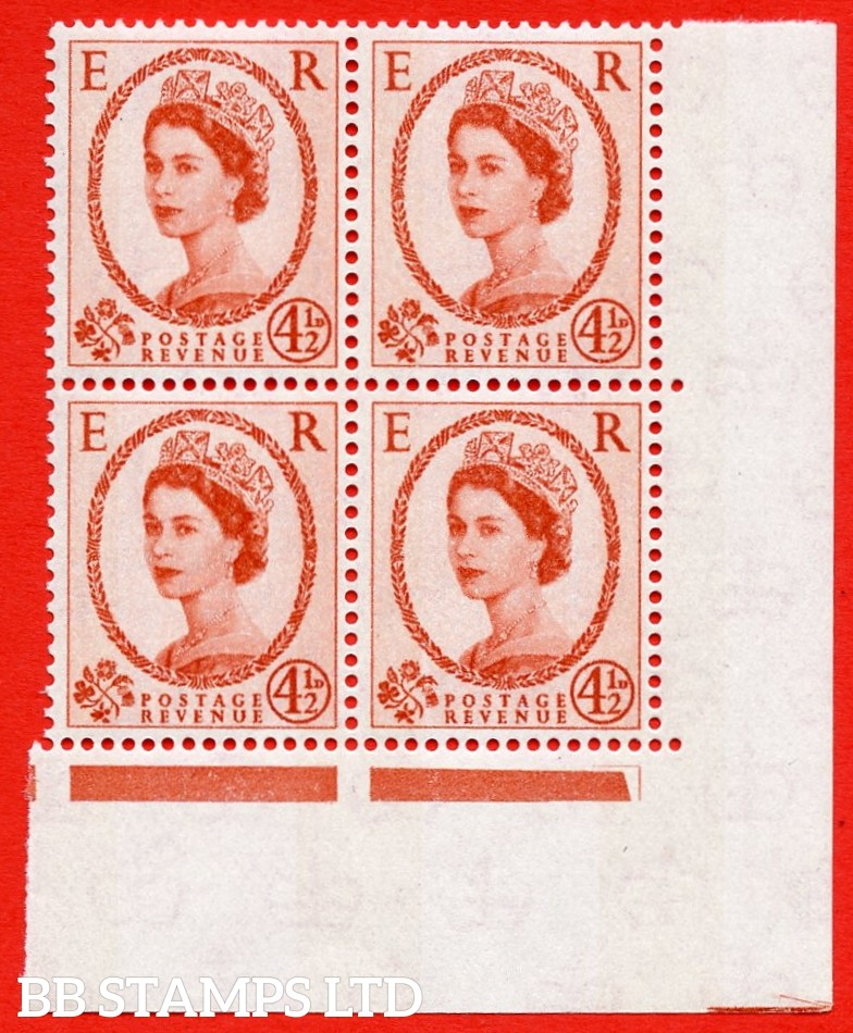 SG.616b. S98c. 4½d Chestnut. Photo. Letterpress. A superb UNMOUNTED MINT example. Bottom left corner positional block of 4. Blue phosphor white paper. With a phantom frame ERROR. R.20/12 variety.