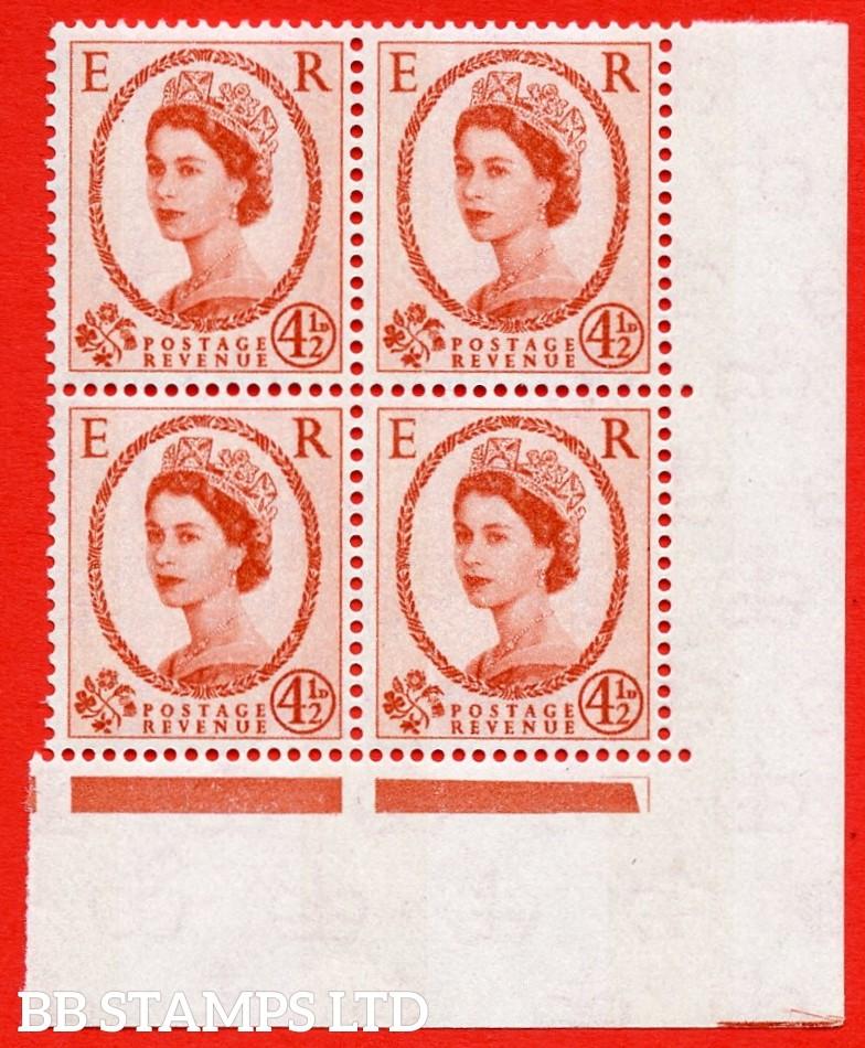 SG.616b. S98c. 4½d Chestnut. Photo. Letterpress. A superb UNMOUNTED MINT example. Bottom left corner positional block of 4. Blue phosphor white paper. With a phantom frame ERROR. R.20/12 variety.