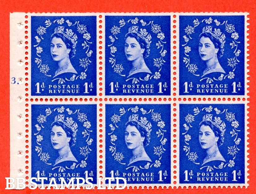 "SG. 571. SB30. 1d Ultramarine. A fine UNMOUNTED MINT cylinder "" F3 T dot "" booklet pane of 6. Perf type (Iet) with TRIMMED PERFS. Smooth edge Cream paper."