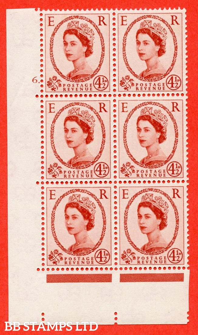 """SG. 577 S93. 4d½ chestnut  A superb UNMOUNTED MINT """" cylinder 6 dot """" control block of 6 with perf type A (E/I)."""
