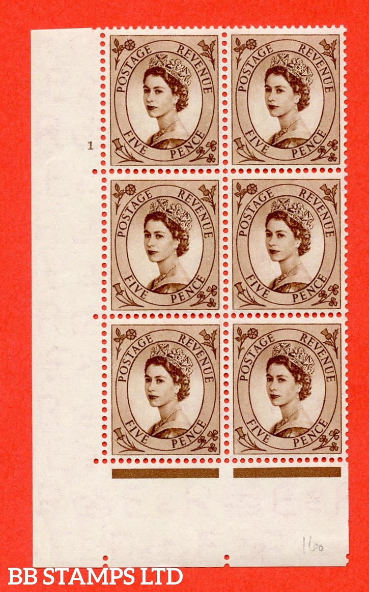 """SG. 522. S99. 5d Brown. A fine lightly mounted mint """" cylinder 1 no dot """" control block of 6 with perf type A E/I."""