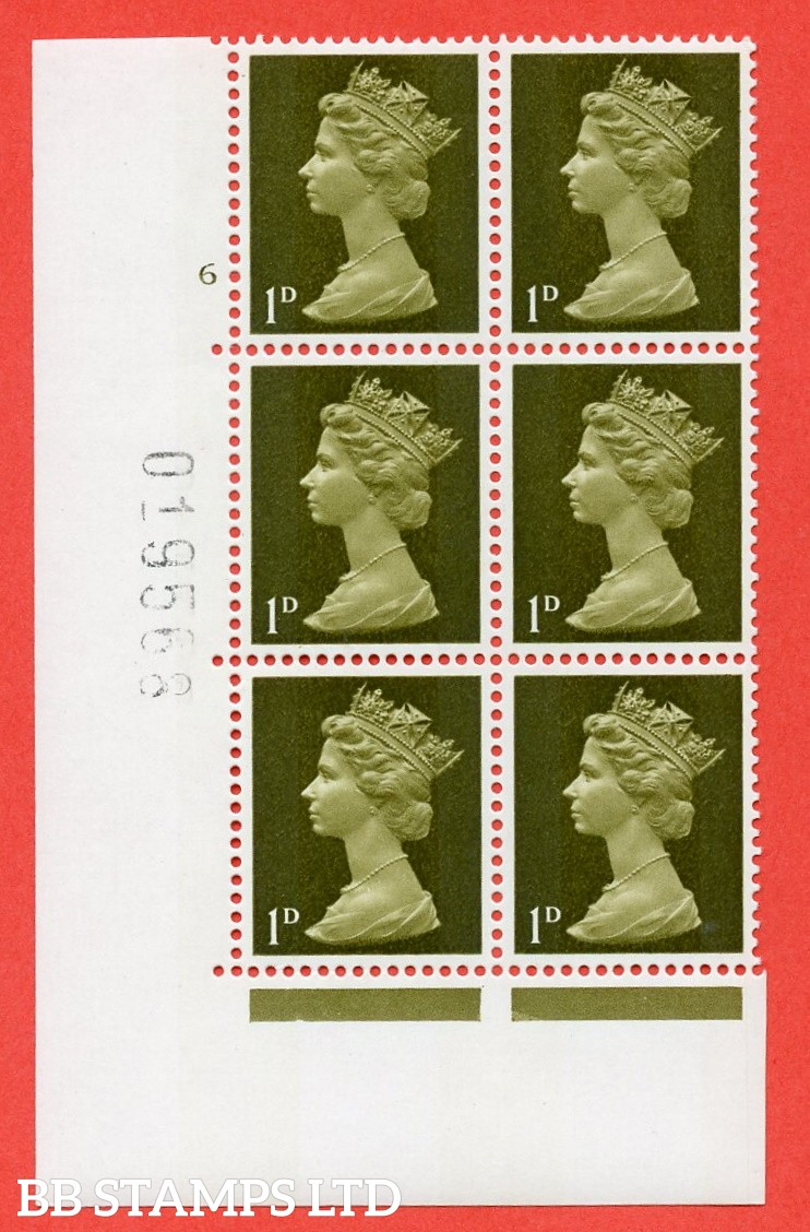 "SG. 724. U2 (3) . 1d greenish olive  A superb UNMOUNTED MINT "" cylinder 6 no dot "" control block of 6 with perf type A E/I. PVA gum. Head B"
