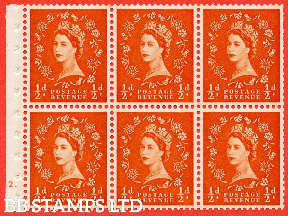 "SG. 610. SB16. ½d Orange Red. A fine UNMOUNTED MINT cylinder "" E12 dot "" booklet pane of 6. Perf type (Iet) with TRIMMED PERFS. Rough edge. Cream Paper."