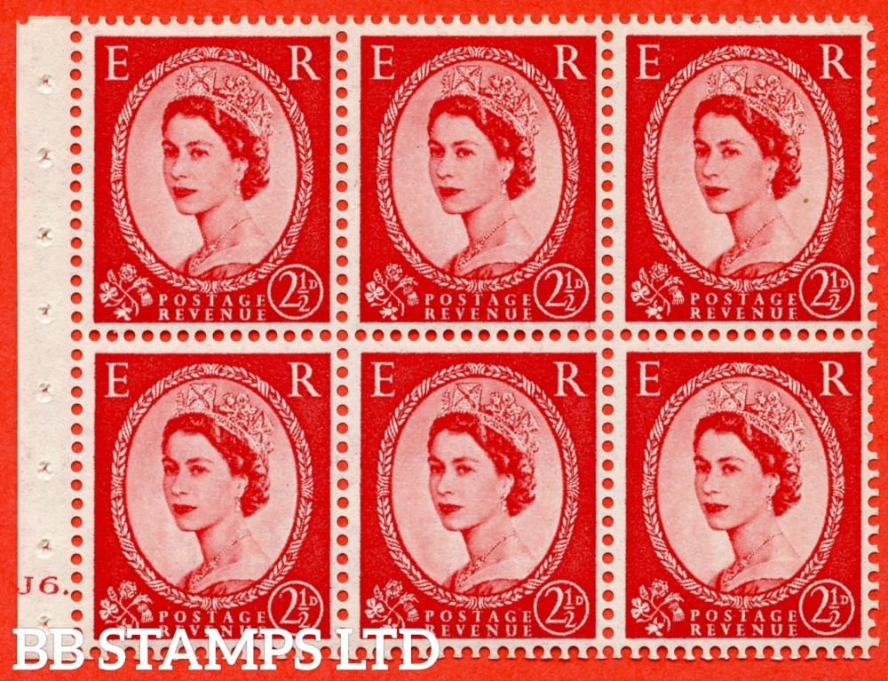 "SG. 544b. SB81. 2½d carmine - red. A fine UNMOUNTED MINT "" J6 dot "" booklet pane of 6. Perf type (Iet) with GOOD PERFS. Smooth edge."