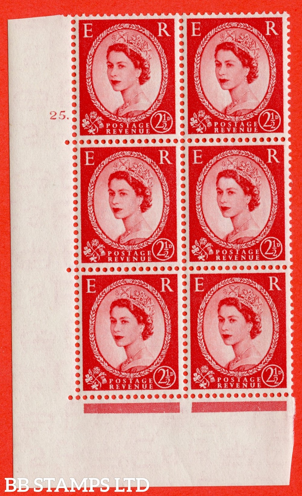 "SG. 519. S50. 2½d Carmine Red. A superb UNMOUNTED MINT "" cylinder 25 dot "" control block of 6 with perf type A E/I."