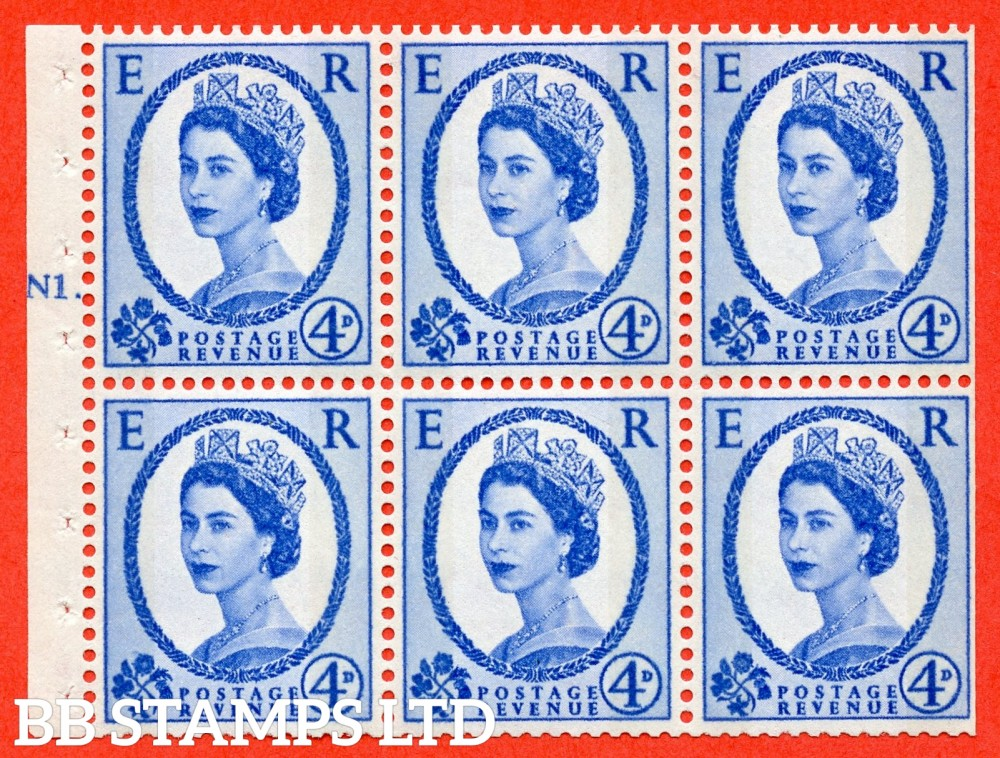 "SG. 616a. SB111. 4d Deep Ultramarine. A fine UNMOUNTED MINT cylinder "" N1 T No dot "" booklet pane of 6. Perf type (Ieb) with TRIMMED PERFS. Smooth edge."