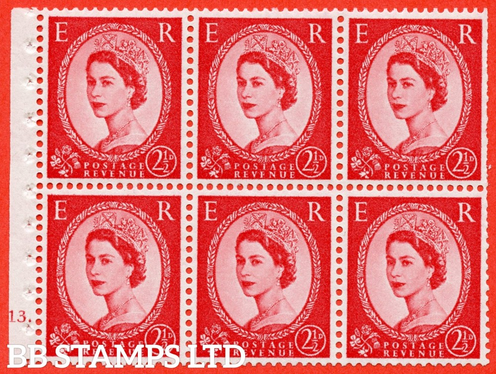 "SG. 574. SB83. 2½d Carmine Red Type II. A fine UNMOUNTED MINT cylinder "" J13 dot "" booklet pane of 6. Perf type (Iet) with TRIMMED PERFS. Smooth edge. White paper."