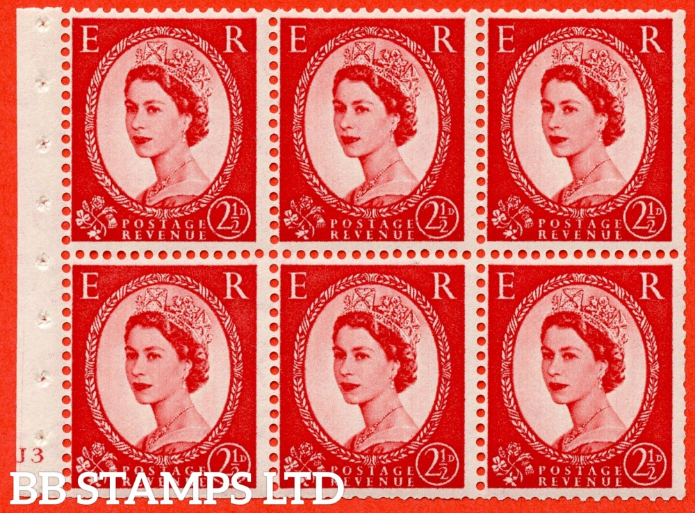 "SG. 519 b. SB80. 2½d carmine - red. A fine UNMOUNTED MINT cylinder "" J3 no dot "" booklet pane of 6. Perf type (I) with TRIMMED PERFS. Smooth edge."