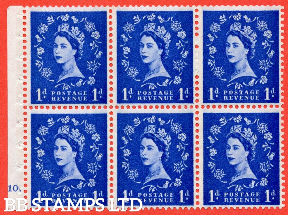 "SG. 611. SB42. 1d Ultramarine. A fine UNMOUNTED MINT cylinder "" F10 dot "" booklet pane of 6. Perf type (Iet) with GOOD PERFS. Smooth edge. White Paper."