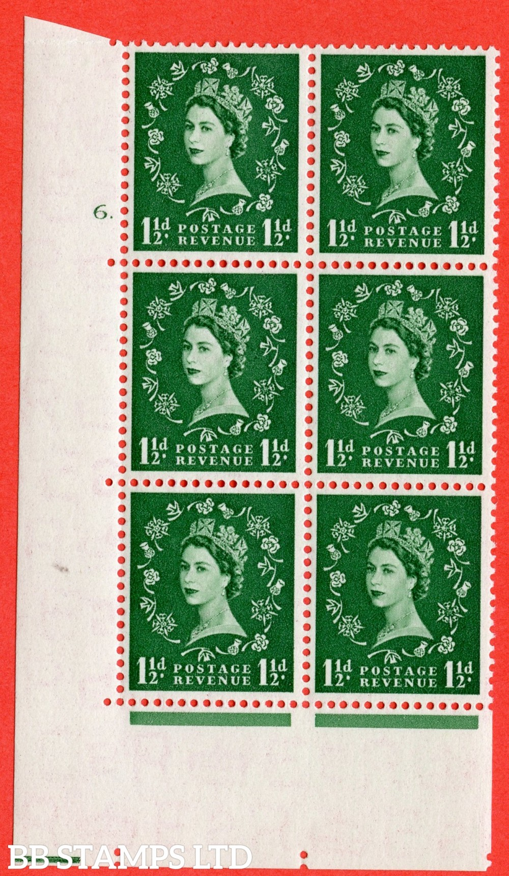 "SG. 517. S25. 1½d Green. A superb UNMOUNTED MINT "" cylinder 6 dot "" control block of 6 with perf type A E/I."