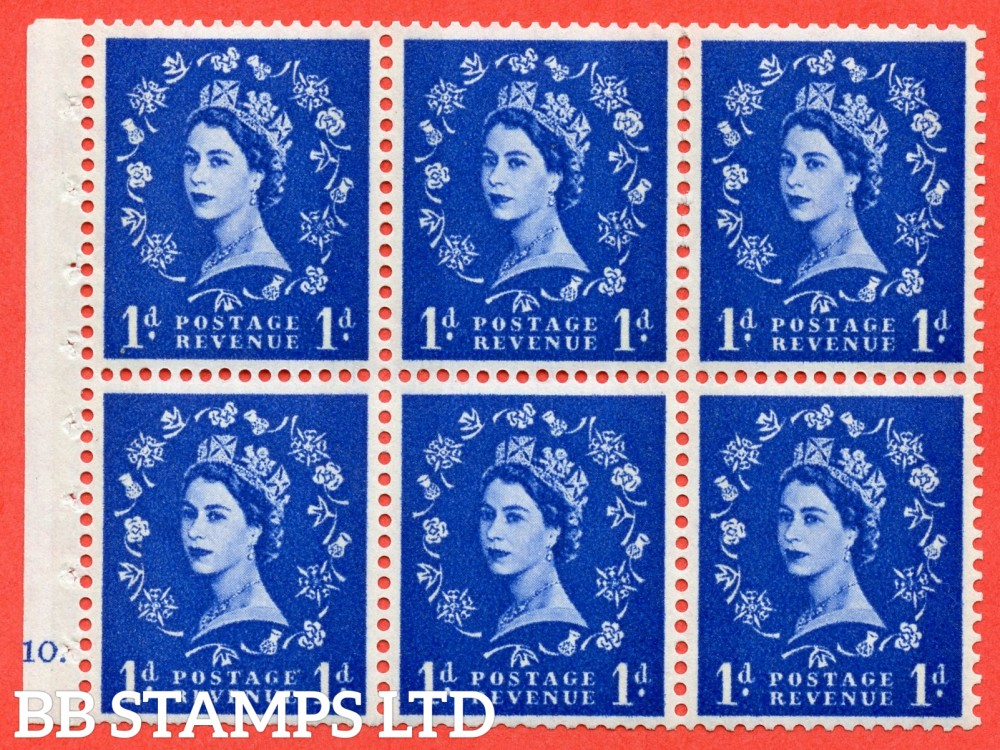 "SG. 611. SB49. 1d Ultramarine. A fine UNMOUNTED MINT cylinder "" F10 dot "" booklet pane of 6. Perf type (Iet) with GOOD PERFS. Smooth edge. White Paper."