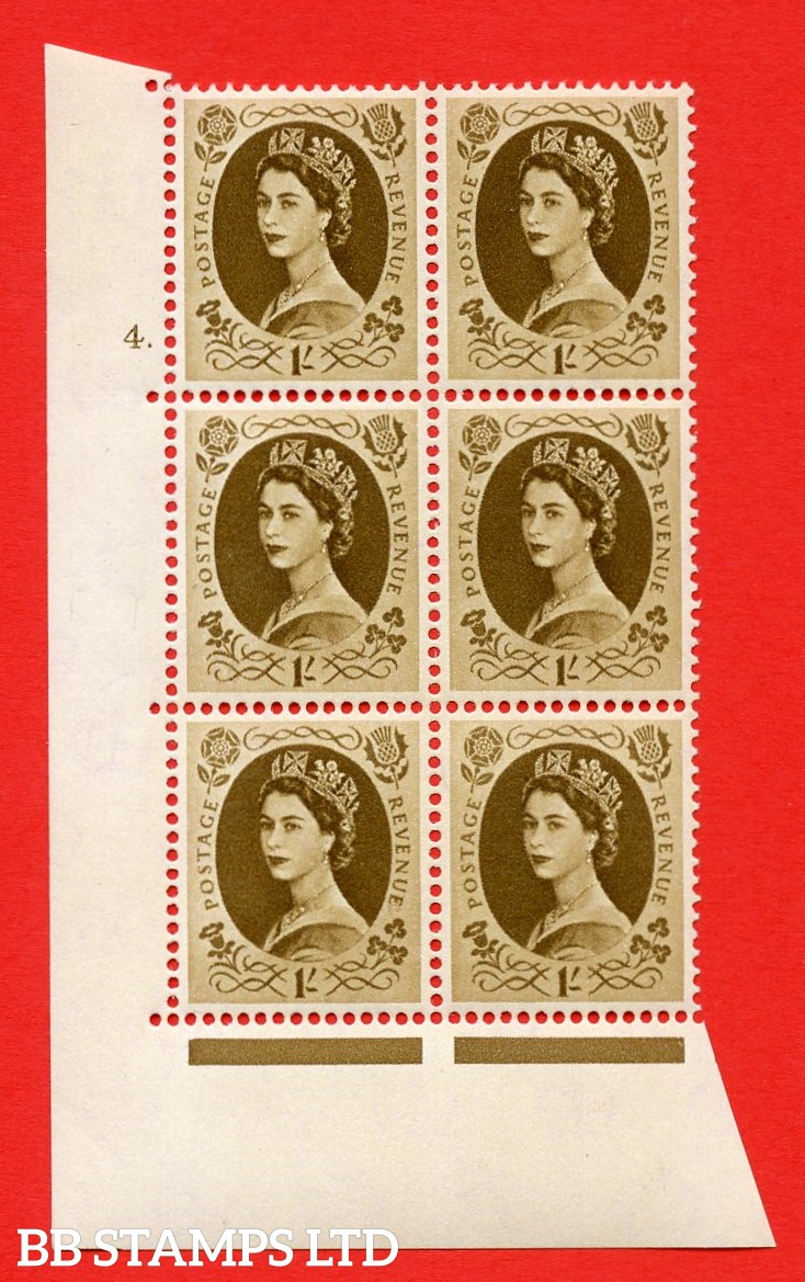 "SG S138. 1/_ Bistre Brown  A superb UNMOUNTED MINT "" cylinder 4 dot "" control block of 6 with perf type A (E/I)."