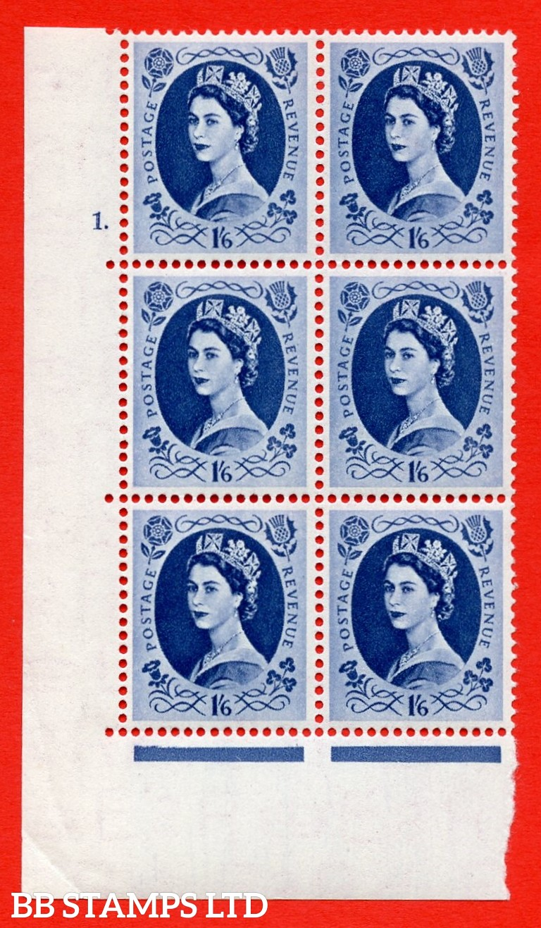 "SG. 531. S150a & b. 1s.6d. Grey-blue. A superb UNMOUNTED MINT "" cylinder 1 dot "" control block of 6 with perf type A E/I with both listed varieties "" White Flaw in Qeens hair below diadem Row 20/1 "" and "" Wwhite Flaw in Queens hair opposite N of Revenue R"