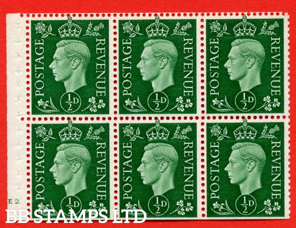 SG. QB1 Perf Type B4(E). ½d Green x 6 Pane, MOUNTED MINT Watermark Upright. Cylinder Pane E2 no dot ( SG. 462b ) Perf Type B4(E). Trimmed Perfs.