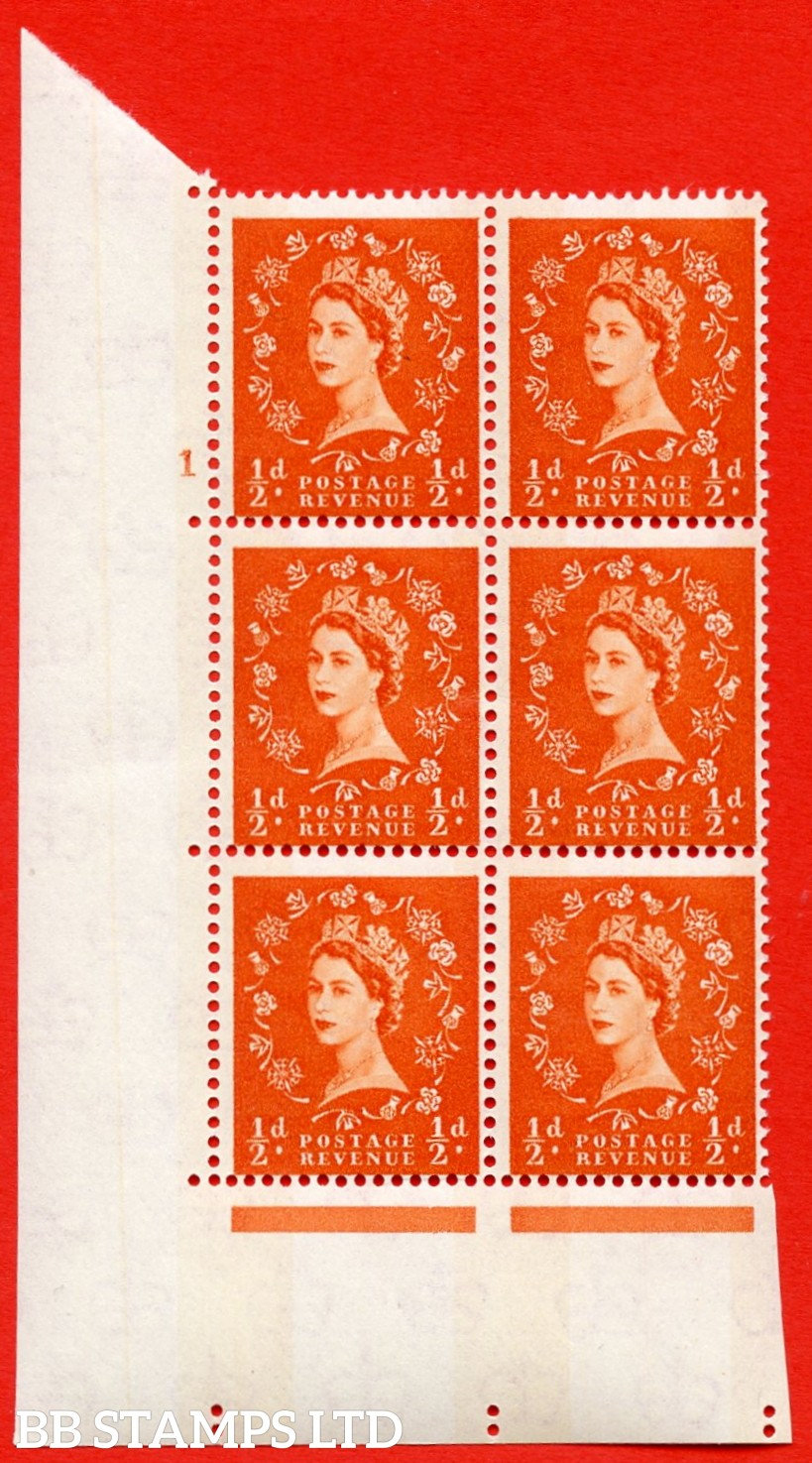 "SG.610. S11. ½d  Orange red. A superb UNMOUNTED MINT "" cylinder 1 no dot "" control block of 6 with perf type A (E/I). Blue Phosphor White paper."
