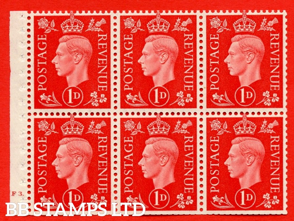 SG. QB10 Perf Type B4A(I) 1d Scarlet x 6 Pane, MOUNTED MINT Watermark Upright. Cylinder Pane F3 dot ( SG. 463b ) Perf Type B4A(I). Trimmed Perfs.