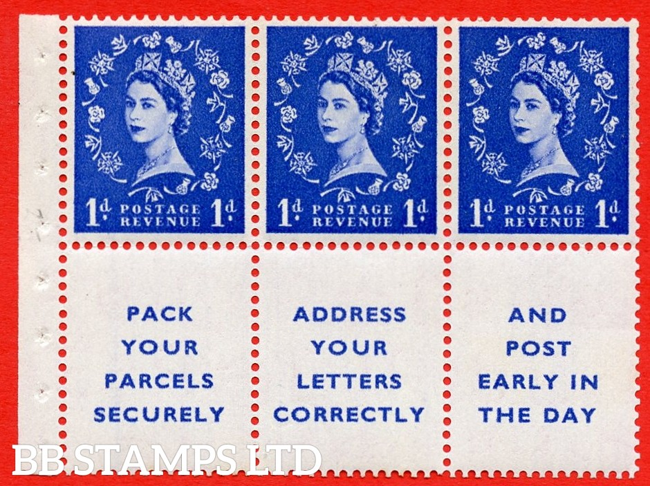 SG. 516. SB25b. 1d ultramarine. A UNMOUNTED MINT example. Complete booklet pane of 6. With a dot in serif ERROR. R.1/3 variety. Good Perfs.