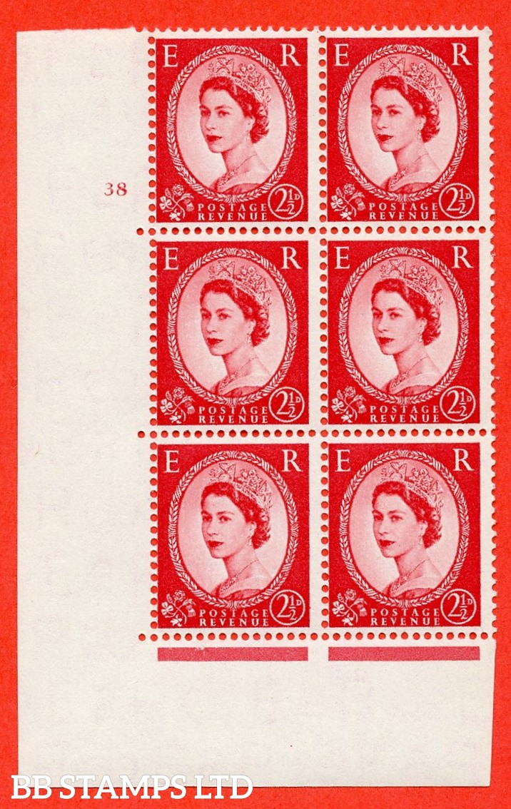 "SG. 544. S52. 2½d. Carmine - Red. A superb UNMOUNTED MINT "" cylinder 38 no dot "" control block of 6 with perf type A E/I."
