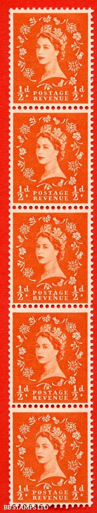 "SG. 570. S4k. ½d Orange. A superb UNMOUNTED MINT example. Coil strip of 5. Cream paper. With a ""A"" flaw ERROR. Roll 3 variety."