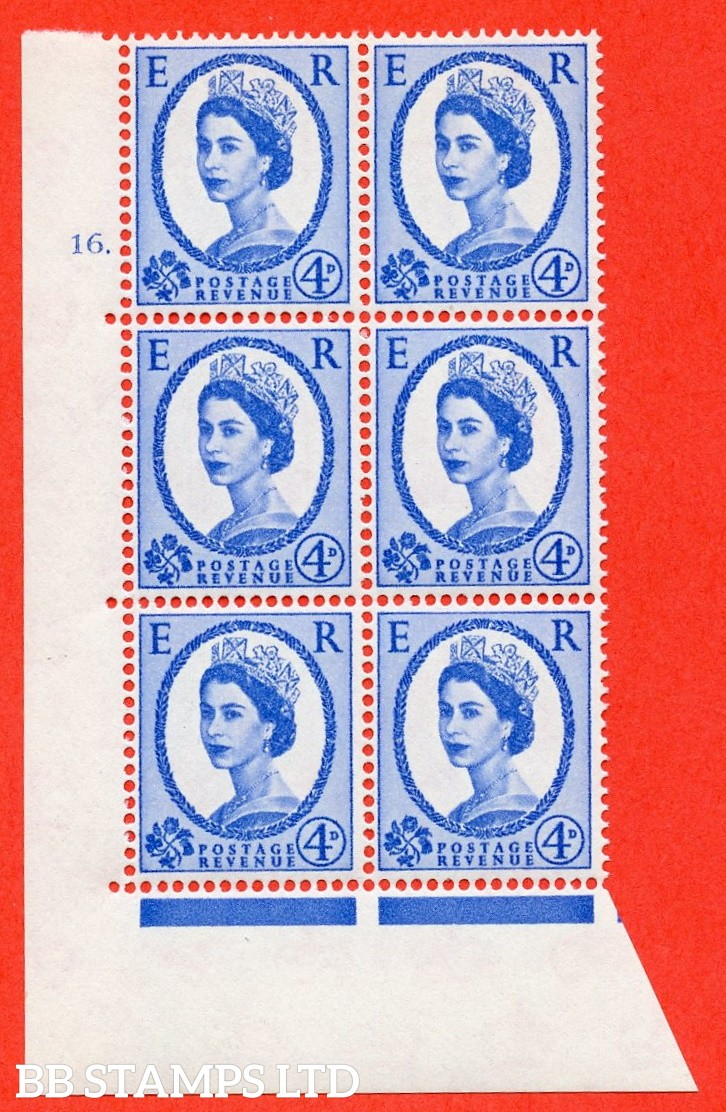 "SG. 575a. S85. 4d Deep Ultramarine. A superb UNMOUNTED MINT "" cylinder 16 dot "" control block of 6 with perf type A E/I. WHITE paper."
