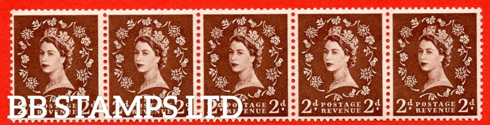 "SG. 543a. S37m. 2d. Red-brown. A superb MOUNTED MINT example. Coil strip of 5. WATERMARK sideways left. With a Retouched left ""2"". ERROR. Roll 5 variety."