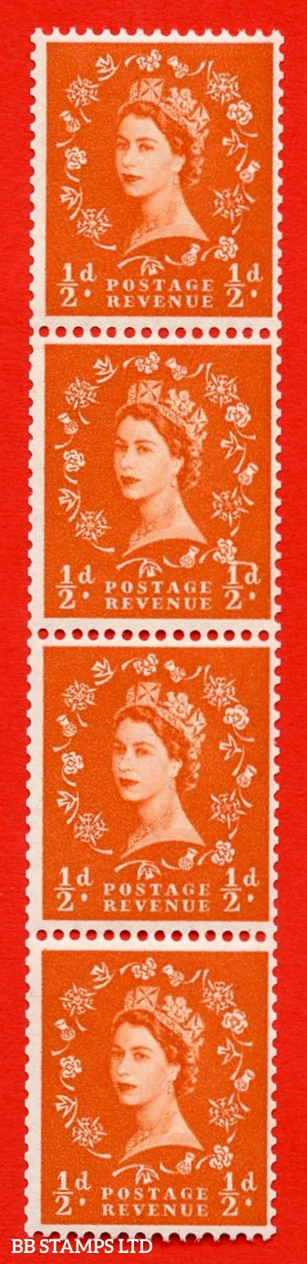 "SG. 570. S5h. ½d Orange. A superb UNMOUNTED MINT example. Coil strip of 4. White paper. With a ""D"" joined to shamrock ERROR. Roll 11 variety."