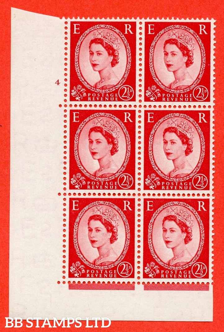 "SG. 519. S50. 2½d Carmine Red. A fine mounted mint "" cylinder 4 no dot "" control block of 6 with perf type A E/I."
