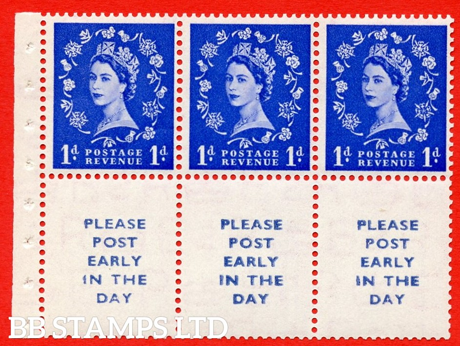 SG. 516La. SB24. 1d ultramarine. A fine UNMOUNTED MINT Complete booklet pane of 6. Perf type (IR) with GOOD PERFS.
