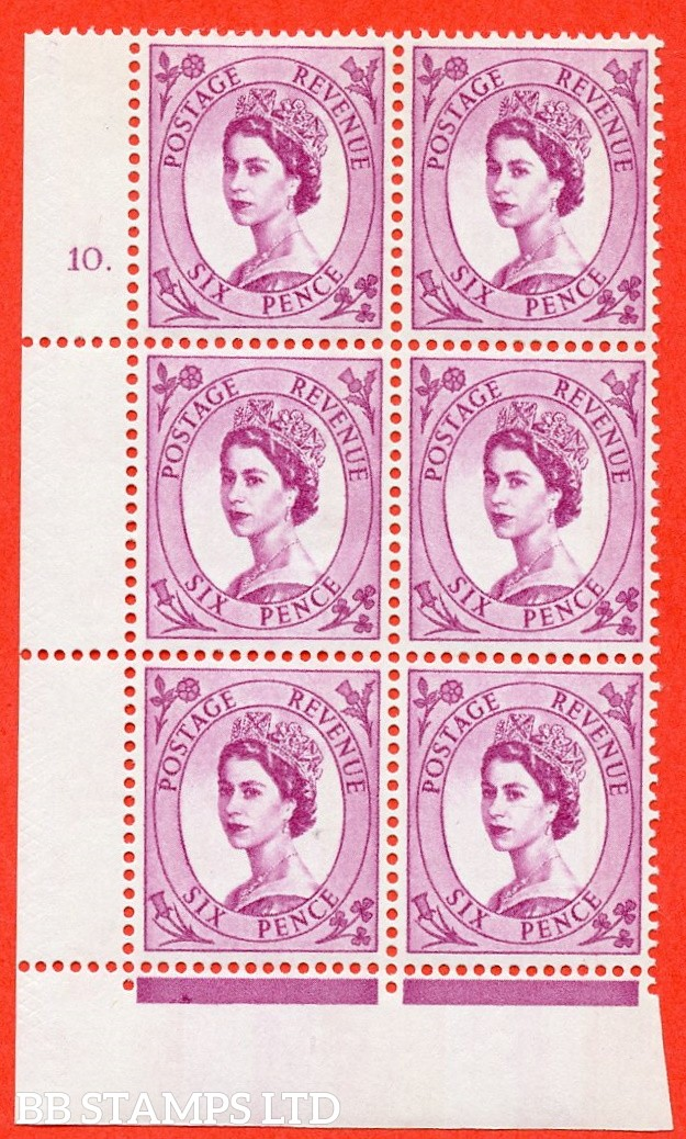 "SG.617. S117. 6d Deep Claret. A fine mounted mint "" cylinder 10 dot "" control block of 6 with perf type FL (P/E). violet Phosphor 9½mm Band."