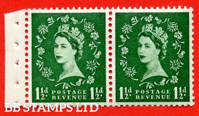 SG. 517N. SB61. 1½d Green. A fine UNMOUNTED MINT. Complete booklet pane of 2 with perf type E½v (T). Good perfs.