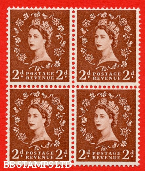 SG. 543b. S38f. 2d. Light Red-brown. A superb MOUNTED MINT example. Block of 4. With a Tadpole flaw ERROR R. 17/6 variety.