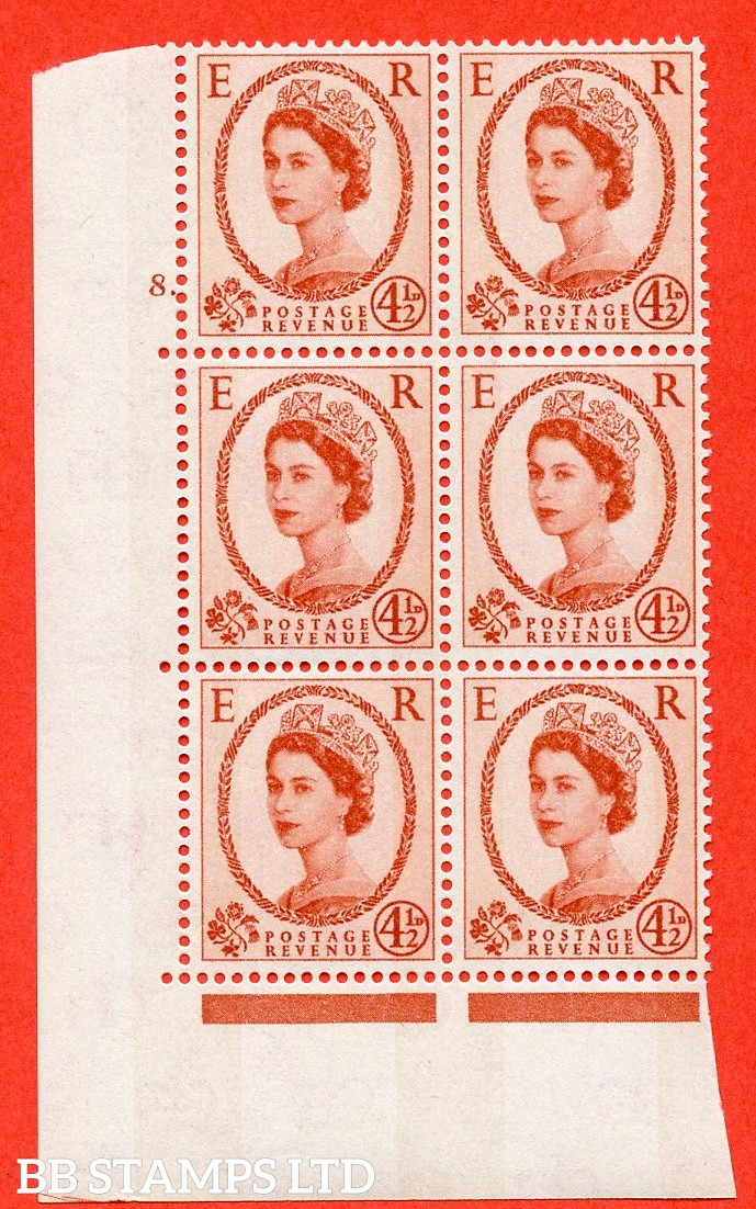 "SG.616b. S98. 4½d Chestnut. Photo.  A superb UNMOUNTED MINT "" cylinder 8 dot "" control block of 6 with perf type A (E/I). Blue Phosphor White paper."