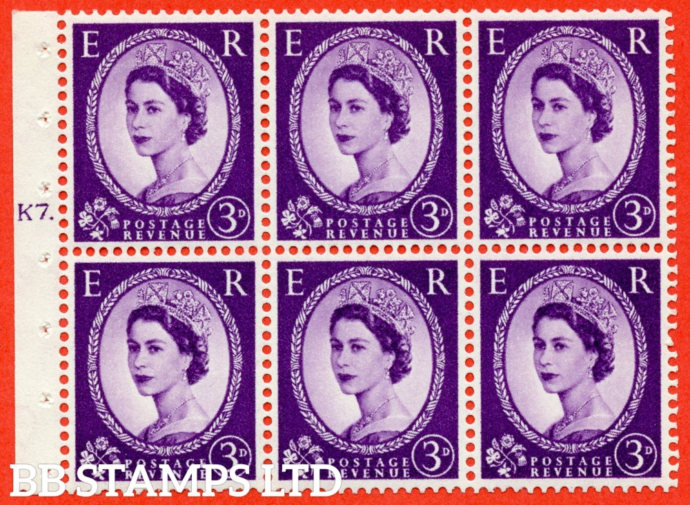 "SG. 545. SB90. 3d Deep Lilac. A superb UNMOUNTED MINT cylinder "" K7 T dot "" booklet pane of 6. Perf type (Ieb) with GOOD PERFS. Smooth edge"