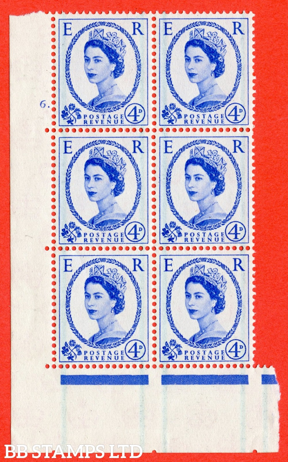 "SG. 593. S86. 4d Ultramarine. A fine lightly mounted mint "" cylinder 6 dot "" control block of 6 with perf type A E/I."