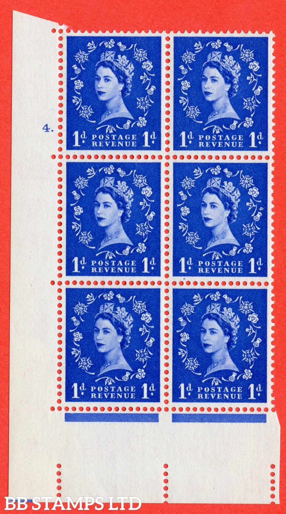 "SG. 541. S14. 1d. Ultramarine. A superb UNMOUNTED MINT "" cylinder 4 dot "" control block of 6 with perf type A E/I"