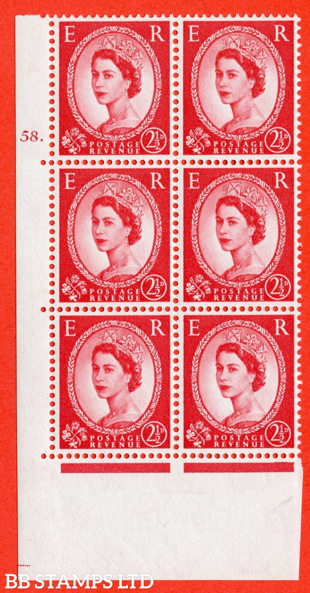 "SG. 574. S57. 2½d Carmine - red.Type II. A superb UNMOUNTED MINT "" cylinder 58 dot "" control block of 6 with perf type A E/I. WHITE paper."