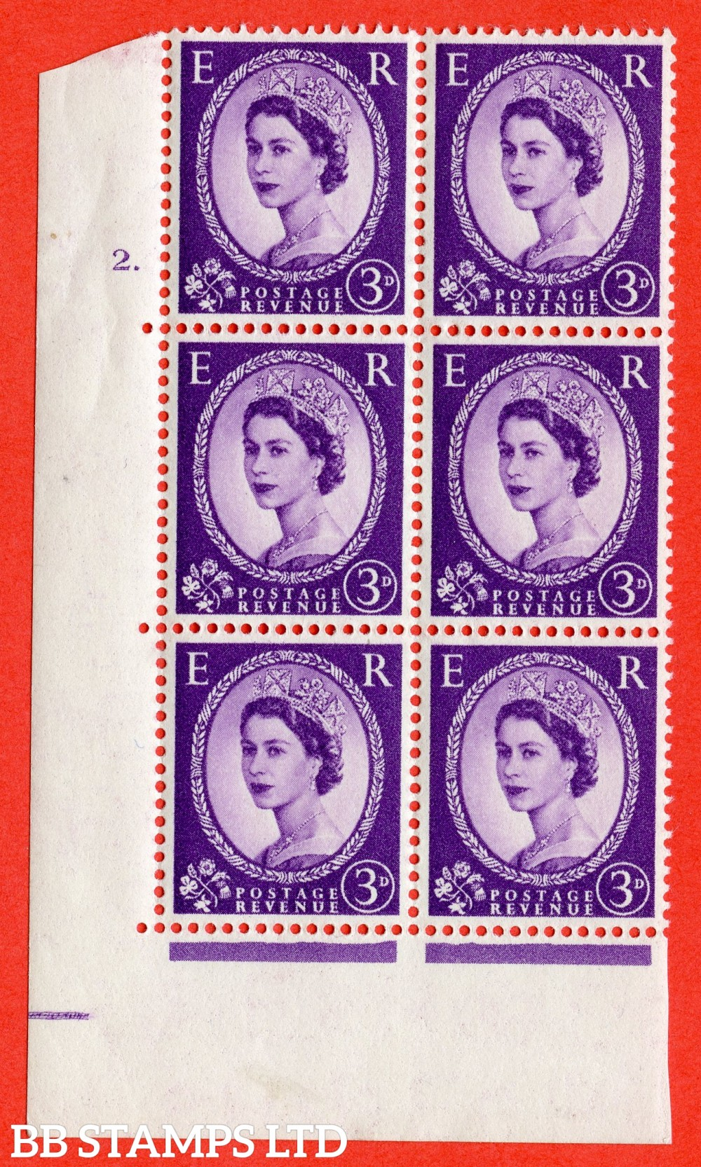 "SG. 545. S68. 3d. Deep - Lilac. A fine lightly mounted mint "" cylinder 2 dot "" control block of 6 with perf type A E/I."