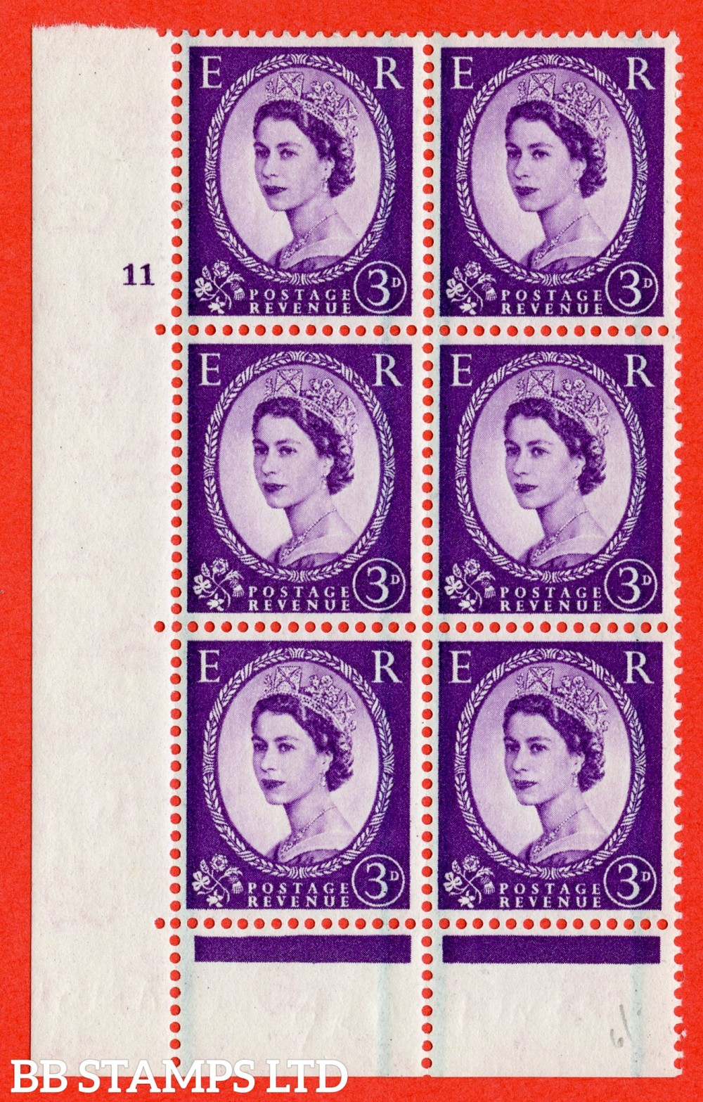 "SG. 592. S72. 3d Deep lilac. A fine lightly mounted mint "" cylinder 11 no dot "" control block of 6 with perf type C E/P."