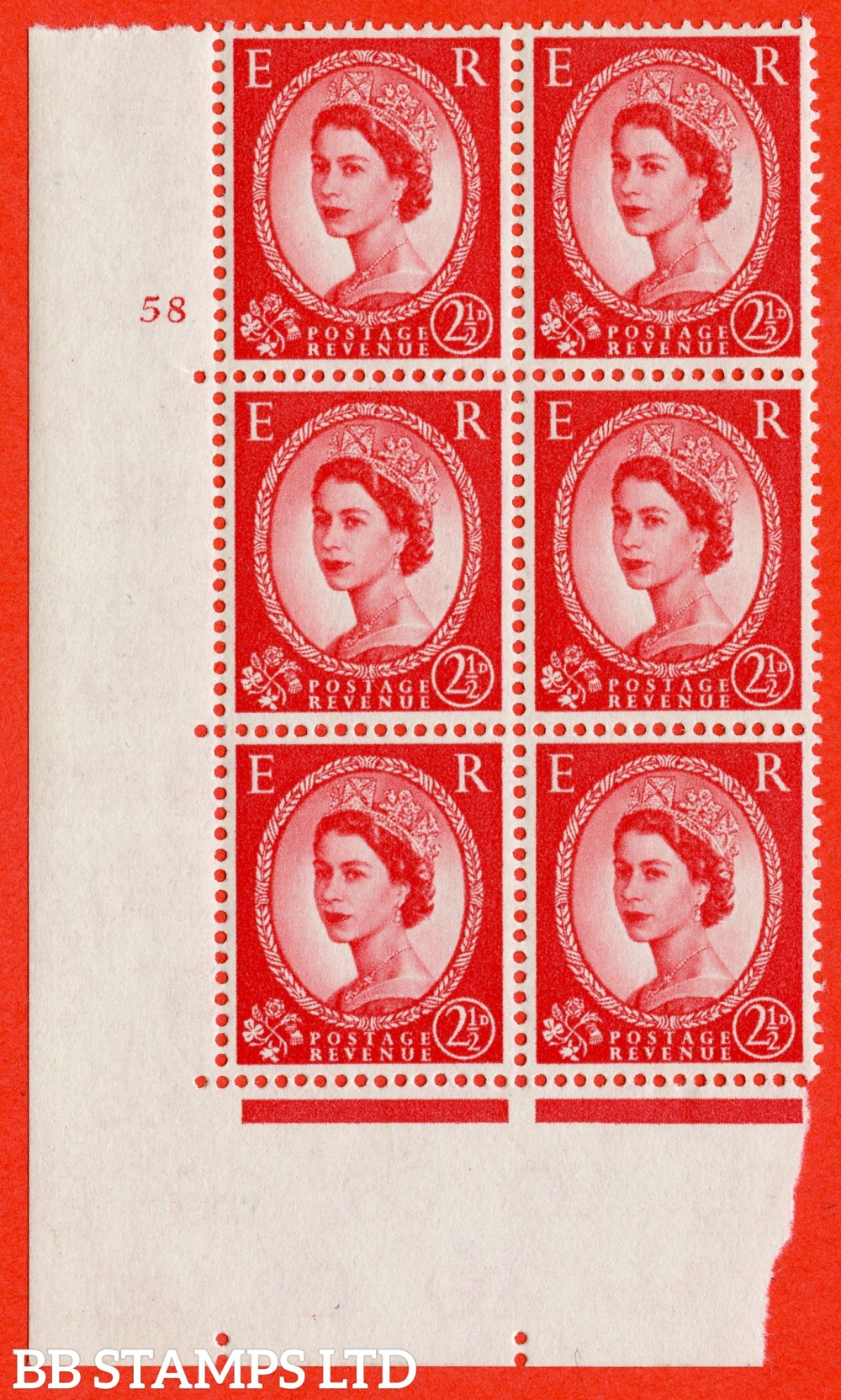 "SG. 574. S57. 2½d Carmine - red.Type II. A superb UNMOUNTED MINT "" cylinder 58 no dot "" control block of 6 with perf type A E/I. WHITE paper."