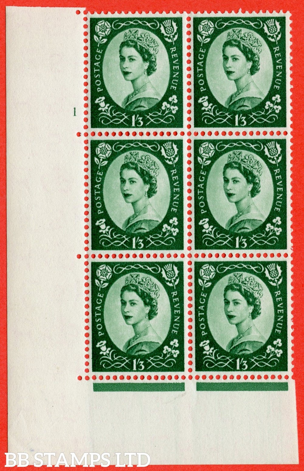 "SG. 555. S142. 1s 3d Green. A superb UNMOUNTED MINT "" cylinder 1 no dot "" control block of 6 with perf type A E/I."