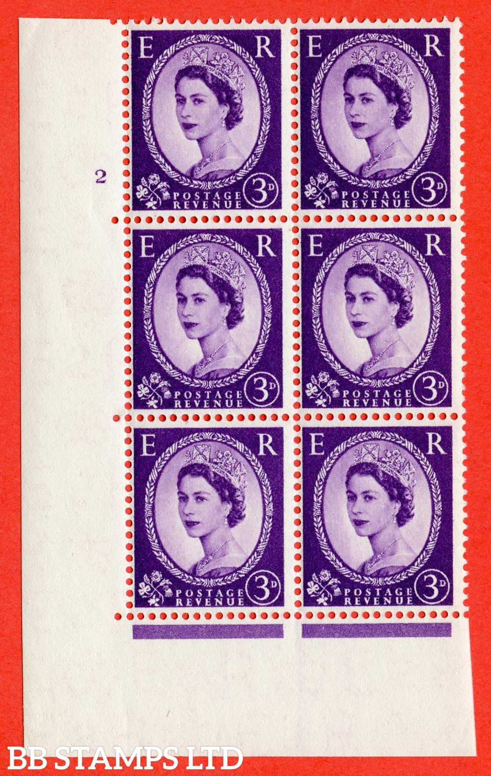"SG. 545. S68. 3d. Deep - Lilac. A superb UNMOUNTED MINT "" cylinder 2 no dot "" control block of 6 with perf type A E/I."