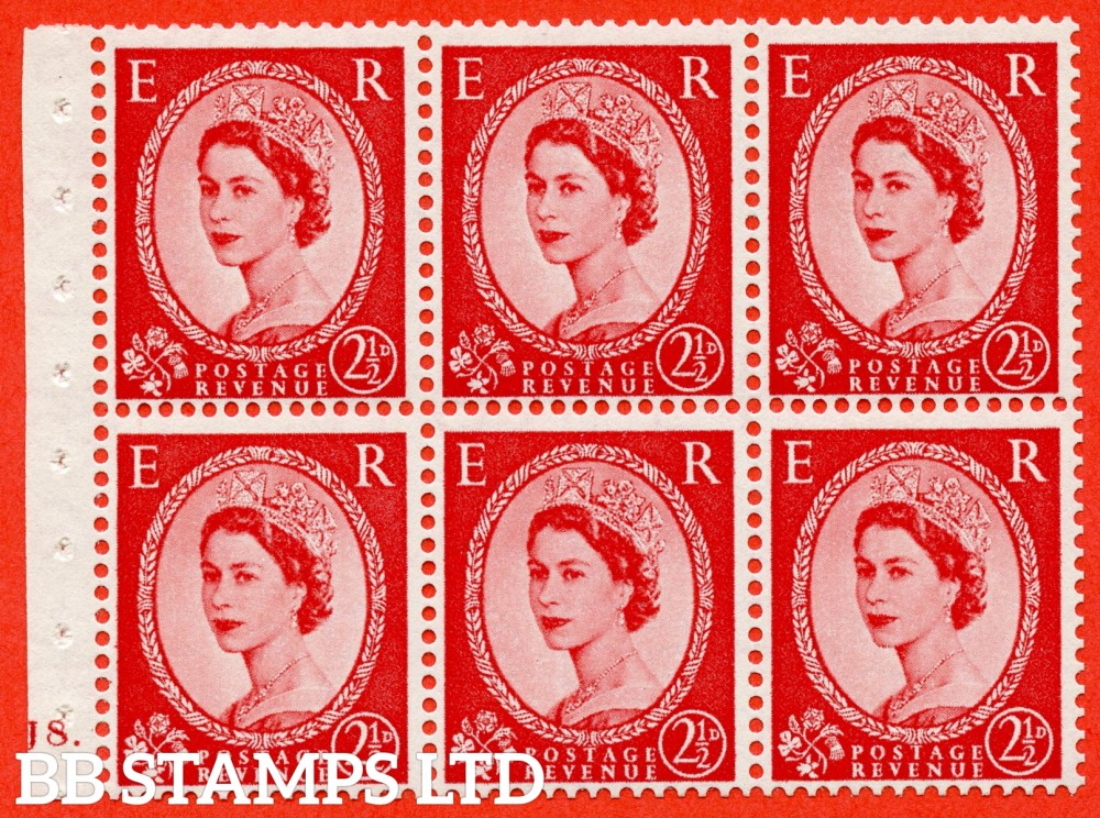 "SG. 544b. SB81. 2½d carmine - red. A superb UNMOUNTED MINT "" J8 dot "" booklet pane of 6. Perf type (Iet) with GOOD PERFS. Smooth edge"