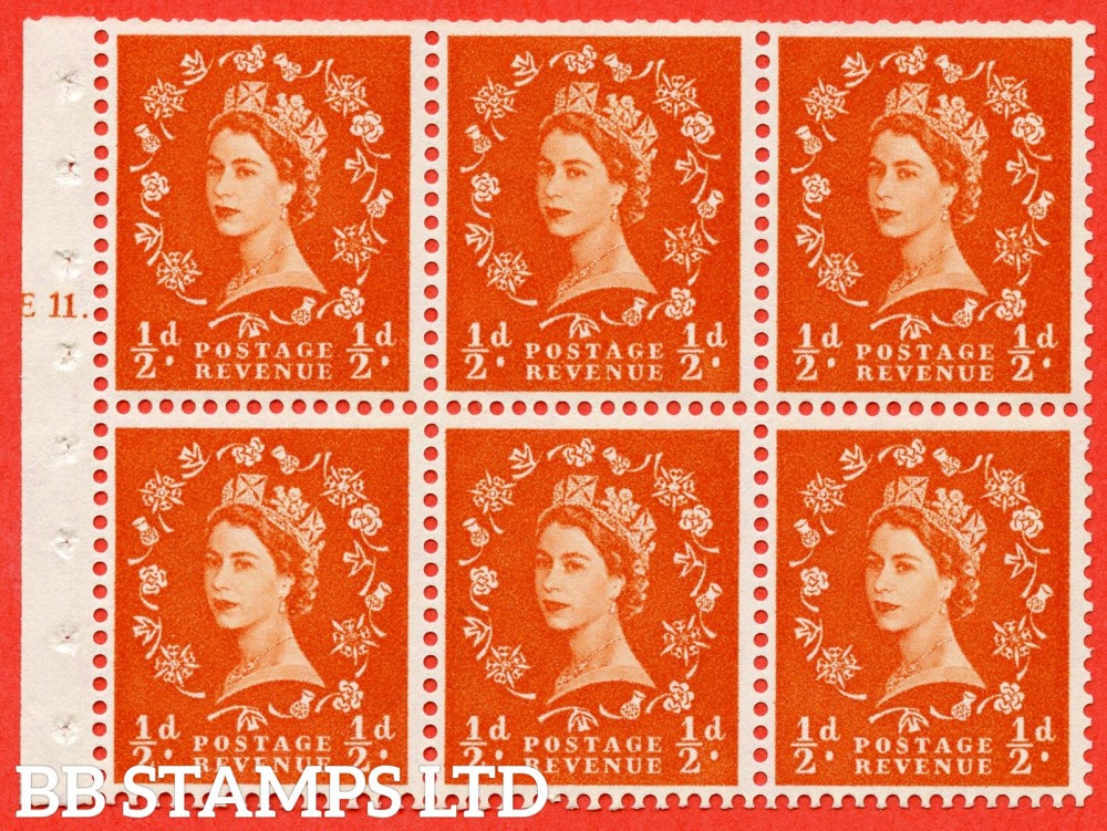 "SG. 570. SB7. ½d orange - red. A fine UNMOUNTED MINT cylinder "" E11 T dot "" booklet pane of 6. Perf type (Iet) with TRIMMED PERFS. Smooth edge. Cream paper."