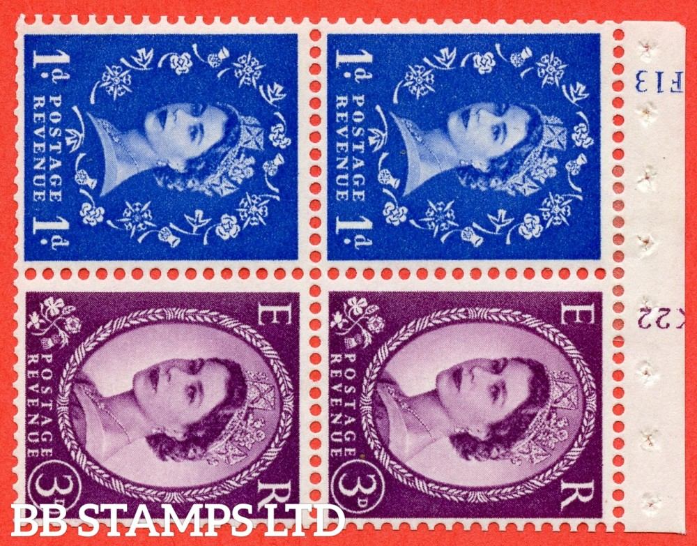 "SG. 571 / 575. SB35. 1d Ultramarine & 3d Deep Lilac. A fine mounted mint cylinder "" F13 (1d) K22 (3d) no dot "" booklet pane of 4. Perf type (I) with TRIMMED PERFS. Smooth edge. White paper"